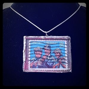 Handmade postage stamp pendant necklace